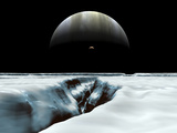 A Crescent Jupiter and Volcanic Satellite, Io, Hover over the Horizon of the Icy Moon of Europa Photographic Print by  Stocktrek Images
