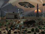 Artist's Concept of a Science Fiction Alien Landscape Photographic Print by  Stocktrek Images