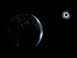 Illustration of the City Lights on a Dark Earth During a Solar Eclipse Fotografisk tryk af Stocktrek Images,