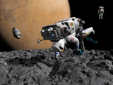 An Astronaut Makes First Human Contact with Mars' Moon Phobos Photographic Print by  Stocktrek Images