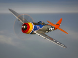 A Republic P-47D Thunderbolt in Flight Fotografiskt tryck av Stocktrek Images,