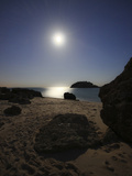A Full Moon Skyscape over a Small Beach Called Portinho Da Arrabida, Portugal Photographic Print by  Stocktrek Images