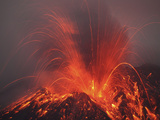Vulcanian Eruption with Glowing Lava Bombs on Sakurajima Volcano, Japan Photographic Print by  Stocktrek Images
