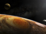 Jupiter's Moons Io and Europa Hover over the Great Red Spot on Jupiter Photographic Print by  Stocktrek Images