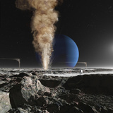 An Astronaut Observes the Ruption of One of Triton's Giant Cryogeysers Photographic Print by  Stocktrek Images