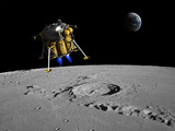 A Lunar Lander Begins its Descent to the Moon's Surface Photographic Print by  Stocktrek Images