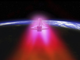 Illustration of a Space Shuttle Re-Entering the Earth's Atmosphere Photographic Print by  Stocktrek Images
