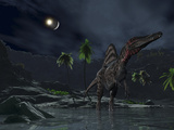 An Asteroid Impact on the Moon While a Spinosaurus Wanders in the Foreground Stampa fotografica di Stocktrek Images,