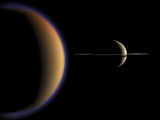 Artist's Concept of Saturn and its Moon Titan Photographic Print by  Stocktrek Images