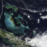 Satellite View of the Bahama Islands in the Atlantic Ocean Photographic Print by  Stocktrek Images