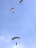 Paratroopers from the Pathfinder Platoon Descend Through the Sky Photographic Print by  Stocktrek Images