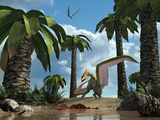 A Pterosaur Flying Reptile Lands Next to Some Carrion Photographic Print by  Stocktrek Images