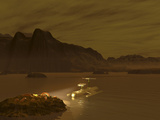 Artist's Concept of a Robotic Probe Exploring a Frigid Ethane Lake on Titan Photographic Print by  Stocktrek Images
