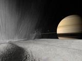 Stocktrek Images - Illustration of a Geyser Erupting on the Surface of Enceladus - Fotografik Baskı