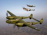 Three Lockheed P-38 Lightnings in Flight Photographic Print by  Stocktrek Images