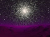 Illustration of a Globular Cluster over the Terrain of a Barren Planet Photographic Print by  Stocktrek Images