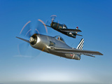 Two Grumman F8F Bearcats in Flight Photographic Print by  Stocktrek Images
