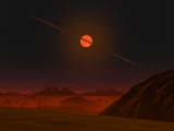A View across a Hypothetical Primitive Alien Planet Towards a Brown Dwarf in the Sky Photographic Print by  Stocktrek Images