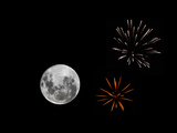 A Composite Image with Fireworks and a New Moon Photographic Print by  Stocktrek Images