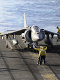 Sailors Prepare to Launch an AV-8B Harrier During Flight Operations Aboard USS Peleliu Photographic Print by  Stocktrek Images