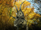 A Diabloceratops Wanders a Cretaceous Forest Photographic Print by  Stocktrek Images