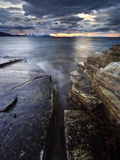 Midnight Sun over Vagsfjorden in Troms County, Norway Photographic Print by  Stocktrek Images