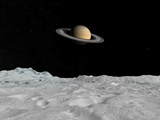 Artist&#39;s Concept of Saturn as Seen from the Surface of its Moon Iapetus Photographic Print by  Stocktrek Images