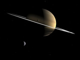 Artist's Concept of Saturn and its Moons Dione and Tethys Photographic Print by  Stocktrek Images