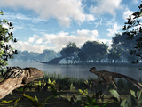 Sauroposeidon Graze While Feathered Deinonychus Look On Photographie par  Stocktrek Images