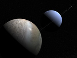 Illustration of the Gas Giant Planet Neptune and its Largest Moon Triton Photographic Print by  Stocktrek Images