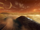 Dark Dunes are Shaped by the Moon's Winds on the Surface of Titan Photographie par  Stocktrek Images