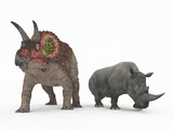 An Adult Triceratops Compared to a Modern Adult White Rhinoceros Photographic Print by  Stocktrek Images