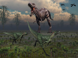 Two Lesothosaurus Dinosaurs Run Out of the Way of a T-Rex on a Rampage Photographic Print by  Stocktrek Images