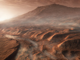 A Light Fog Forms in a Desiccated Gully in Gale Crater, Mars Photographic Print by  Stocktrek Images