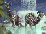 A Pair of Parasaurolophus Feed on Flora Near a Waterfall Photographic Print by  Stocktrek Images