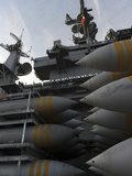 Stacked Ordnance Ready to Be Loaded Aboard USS John C. Stennis Photographic Print by  Stocktrek Images