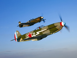 A Soviet Yakovlev Yak-3 and a P-51A Mustang in Flight Photographic Print by  Stocktrek Images