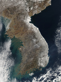Satellite View of Snowfall Along South Korea's East Coast Photographic Print by  Stocktrek Images