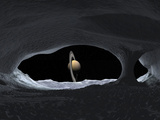 Artist's Concept of How Saturn Might Appear from Within a Hypothetical Ice Cave on Iapetus Photographic Print by  Stocktrek Images