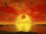 Flying Life Forms Grace the Crimson Skies of the Earth-Like Extrasolar Planet Gliese 581 C Photographic Print by  Stocktrek Images