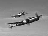 A P-38 Lightning and P-51D Mustang in Flight Photographic Print by  Stocktrek Images