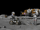 Artist's Concept of a Future Lunar Exploration Mission Photographic Print by  Stocktrek Images