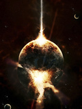 A Concentrated Gamma Ray Strikes a Planet, Tearing it Open Photographic Print by  Stocktrek Images