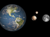 Artist's Concept of the Earth, Pluto, Charon, and Earth's Moon to Scale Photographic Print by  Stocktrek Images