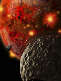Asteroid Impacts on the Early Earth Photographic Print by  Stocktrek Images