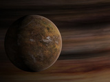 Artist's Concept of a Mars-Like Moon in Front of a Gas Giant Photographic Print by  Stocktrek Images