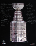 Stanley Cup Trophy Vertical Photograph Hand Signed w/Respective Years Inscriptions Photographie
