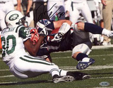 Drew Coleman Autographed New York Jets Tackle vs Patriots Horizontal Photograph Photo
