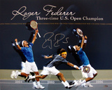 Roger Federer Autographed Three-Time U.S. Open Champion Collage Photograph Photographie