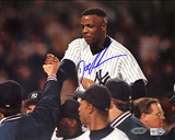 Doc Gooden Autographed Yankees No Hitter Carry Off Horizontal Photograph - Signed In Blue Photo